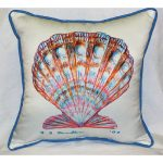 Scallop Shell Art Outdoor Pillow 18in x 18in