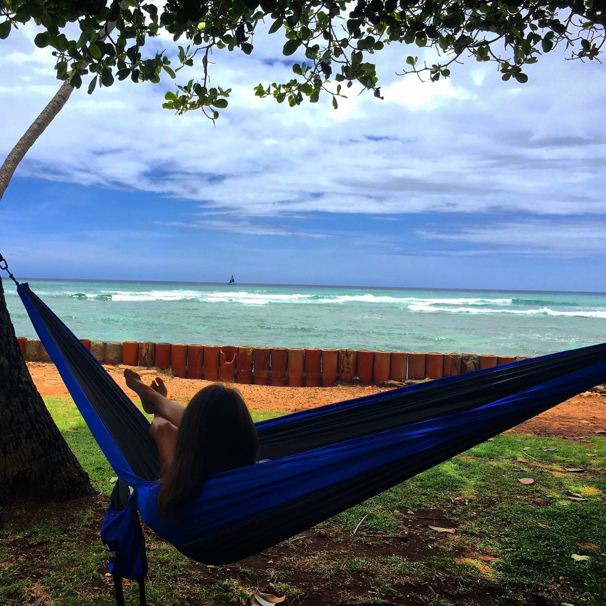 Hammocks on the beach at night - Castaway Single Travel Hammock With Hanging Straps