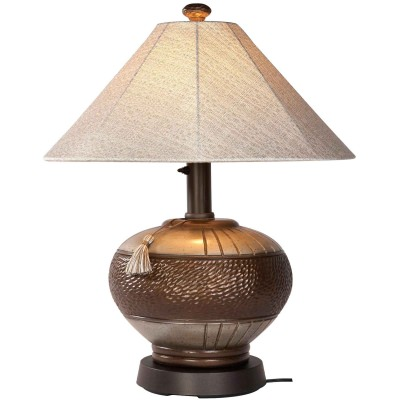 Bronze Phoenix Outdoor Table Lamp with Sunbrella Shade