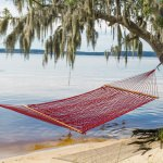Single Red Polyester Rope Hammock