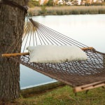 Large Antique Brown Soft Spun Polyester Rope Hammock with FREE Pillow and Hanging Hardware