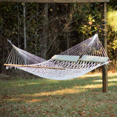 Deluxe Polyester Rope Hammock with 2 Taupe Pillows
