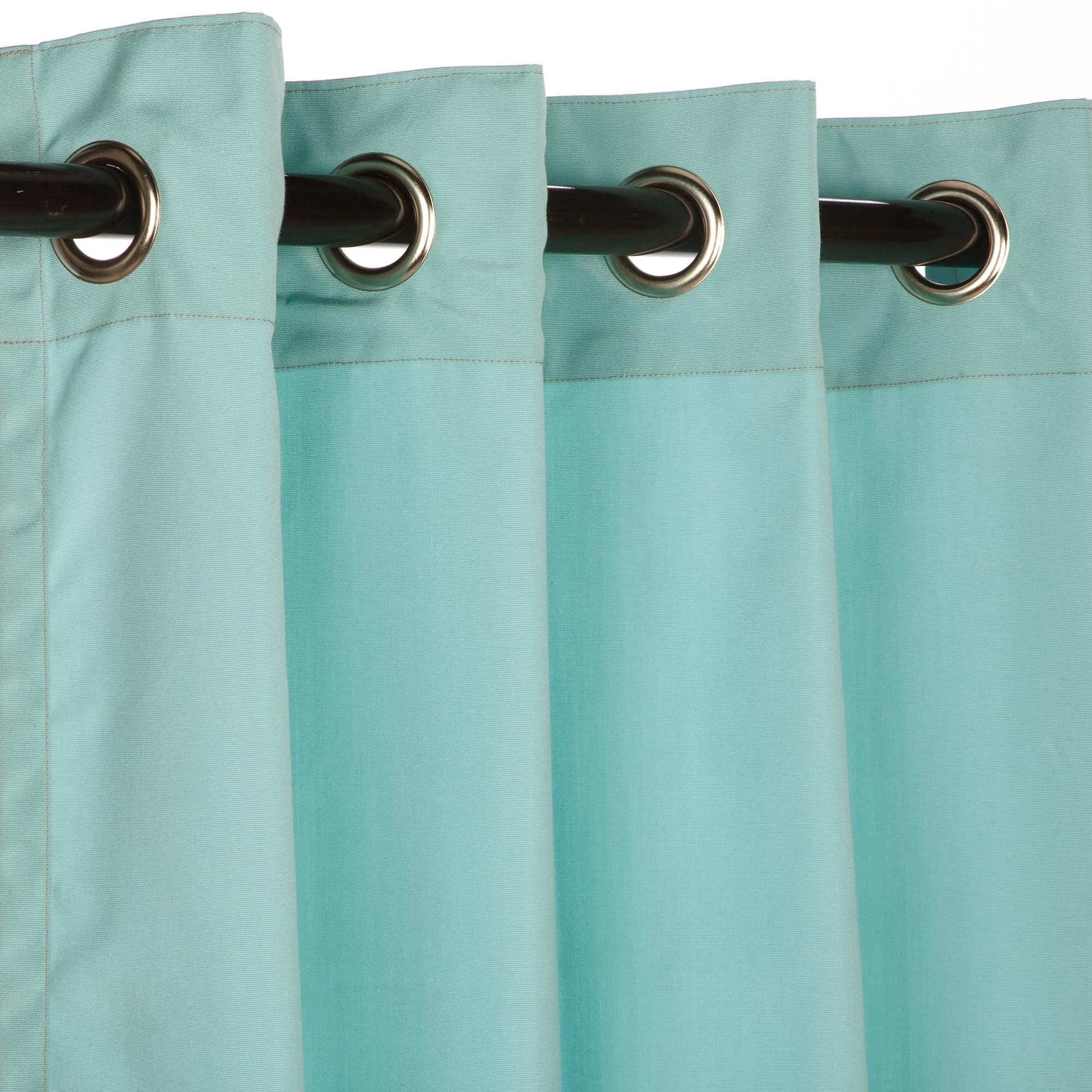 Striped outdoor curtains - Sunbrella Outdoor Curtain With Nickel Grommets Canvas Glacier