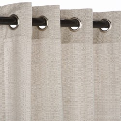 Sunbrella Linen Silver Outdoor Curtain with Nickel Plated Grommets