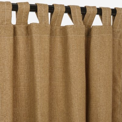 Linen Sesame Sunbrella Outdoor Curtain With Tabs