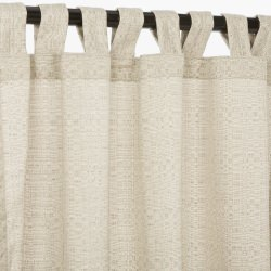 Sunbrella Linen Silver Outdoor Curtain with Tabs