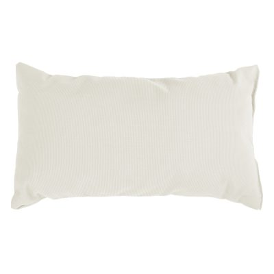 Canvas White Sunbrella Outdoor Throw Pillow 19 in. x 10 in. Rectangle/Lumbar