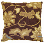 Jellybean Jacobean Floral Brown and Blue Outdoor Pillow