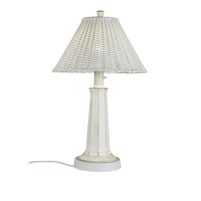 Nantucket 34 In. Outdoor Table Lamp with White PVC Wicker Shade