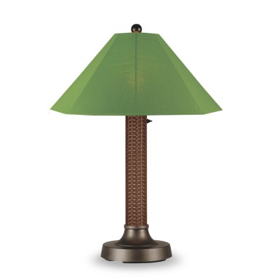 Bahama Weave Outdoor Table Lamp with Red Wicker Body Sunbrella Shade