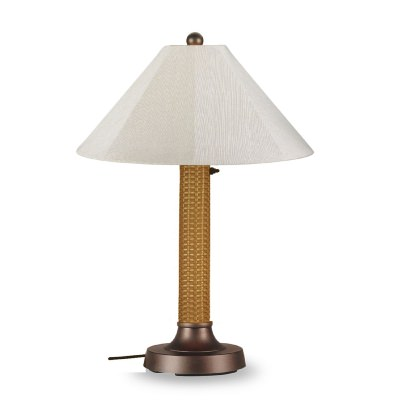 Bahama Weave Outdoor Table Lamp Wicker Body in Mocha Sunbrella Shade