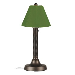 Bahama Weave 187 Outdoor Table Lamp Dark Mahogany Body Sunbrella Shade