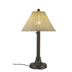 PLC 19217 Tahiti II 34 Inch Bronze Table Lamp with Stone Wicker Shade