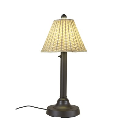 PLC 19227 Tahiti II 30 Inch Bronze Table Lamp with Stone Wicker Shade