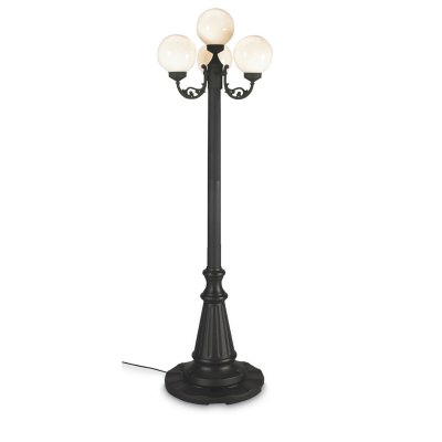 European Four Globe Black Outdoor Lantern Post Lamp Park Style