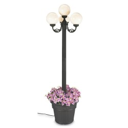European Four Globe Black Outdoor Lantern Post Park Style with Planter