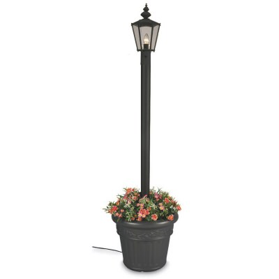 Cambridge Black Single Lantern Planter Outdoor Post Patio Lamp