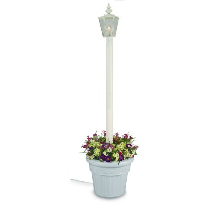 Cambridge 411 Single White Outdoor Post Lantern with Planter