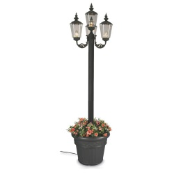 Black Cambridge Four Lantern Patio Lamp with Planter Base