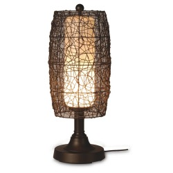 Bristol Table Lamp with Bronze Body and Wicker Brown Shade