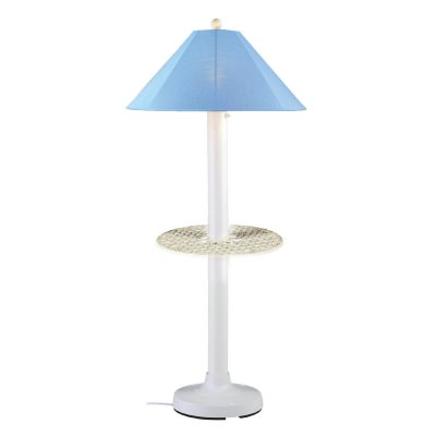 White Catalina Outdoor Floor Lamp with Table and Sunbrella Shade