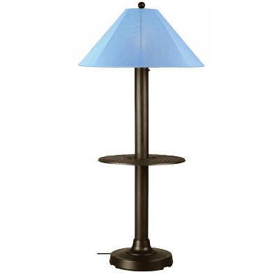 Bronze Catalina Outdoor Floor Lamp with Table and Sunbrella Shade
