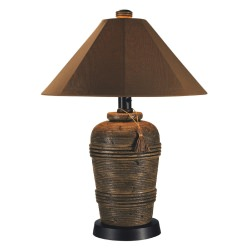 Canyon Outdoor Table Lamp with Brown Body and Sunbrella Shade