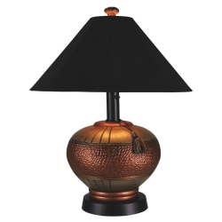 Copper Phoenix Outdoor Table Lamp with Sunbrella Shade
