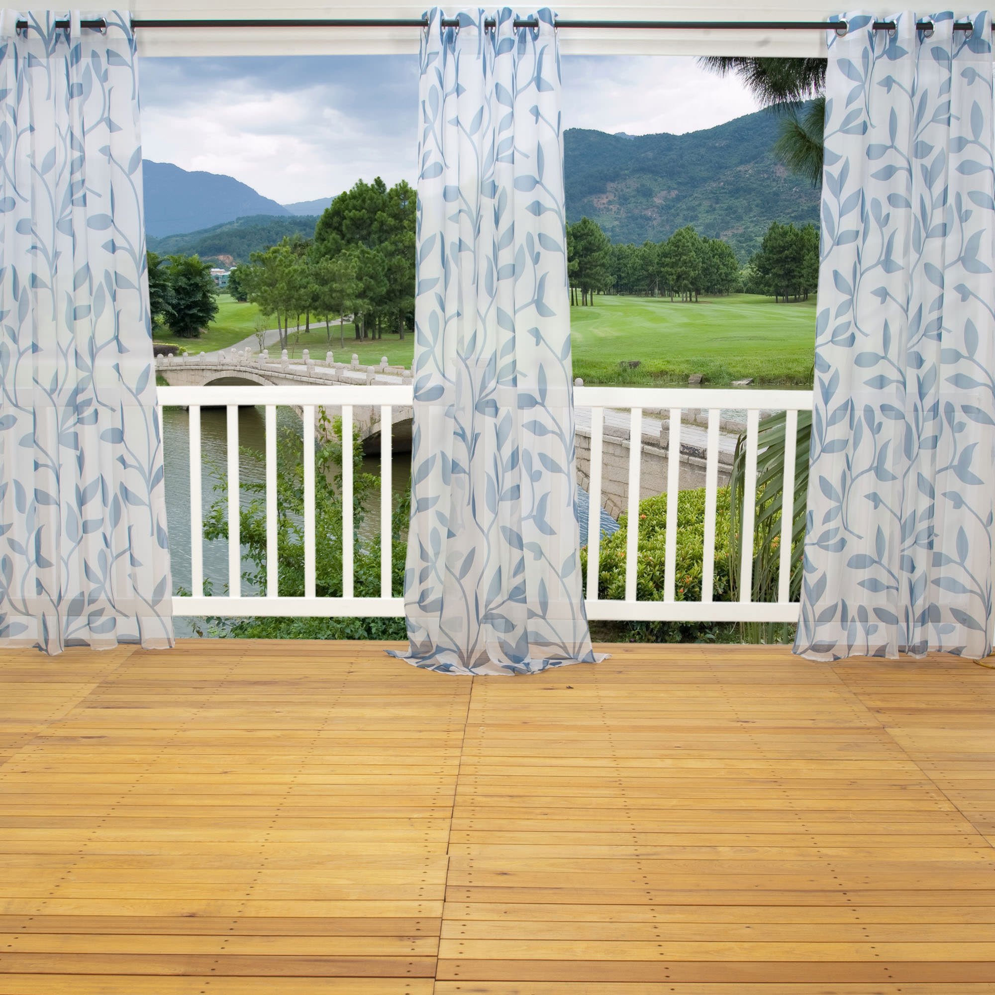Shop Sheer Blue Leaf Outdoor Curtains With Grommets 54 X 96 Commonwealth Curtains Outdoors