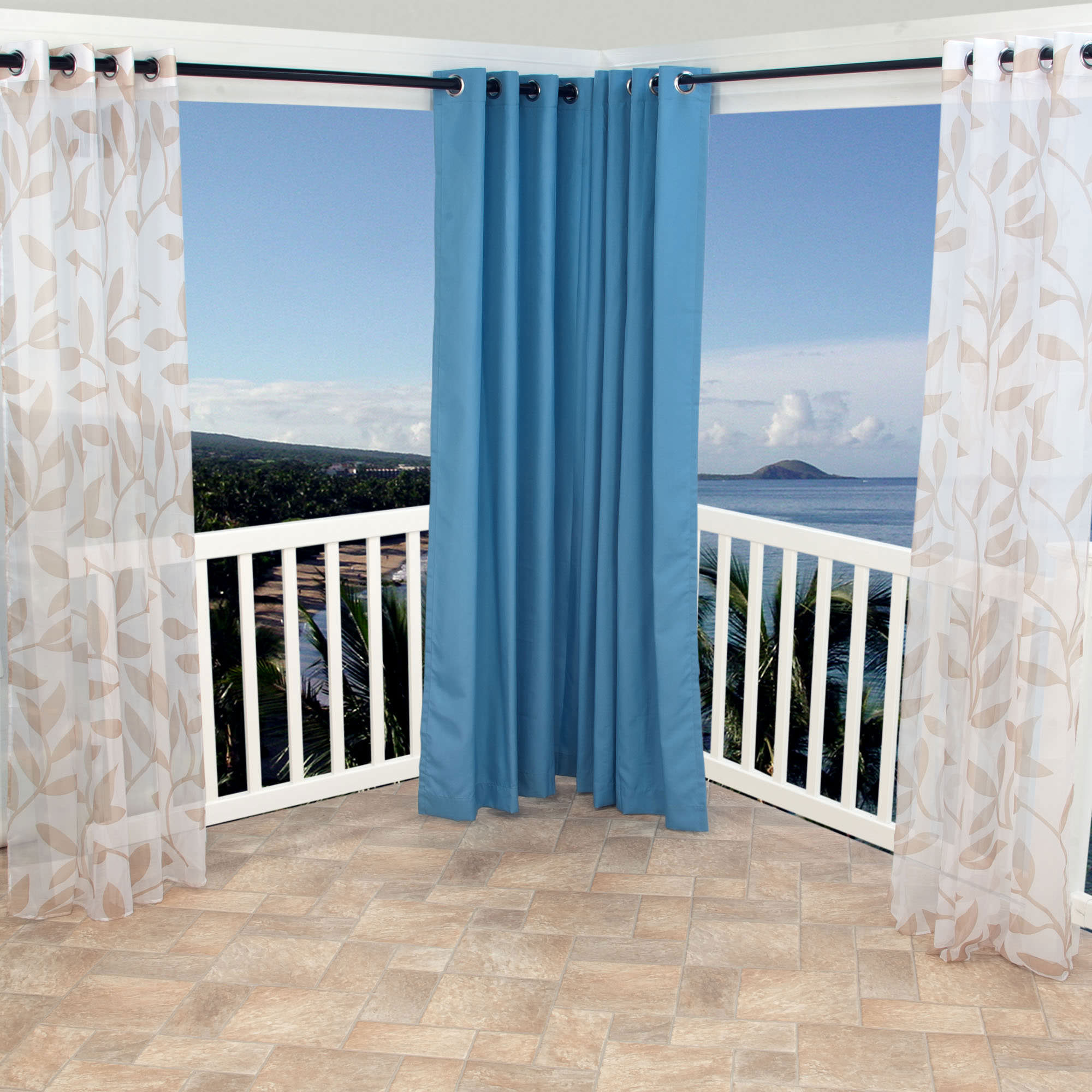 Shop Sheer Khaki Leaf Outdoor Curtains With Grommets 54 X 96 Commonwealth Curtains