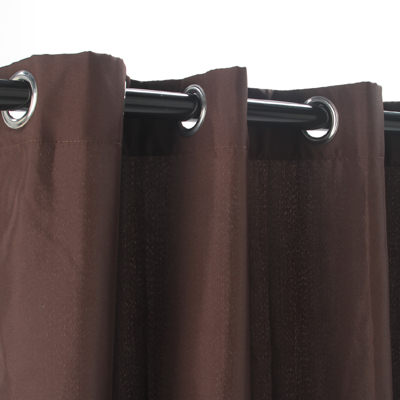 Chocolate Polyester Outdoor Curtain with Grommets