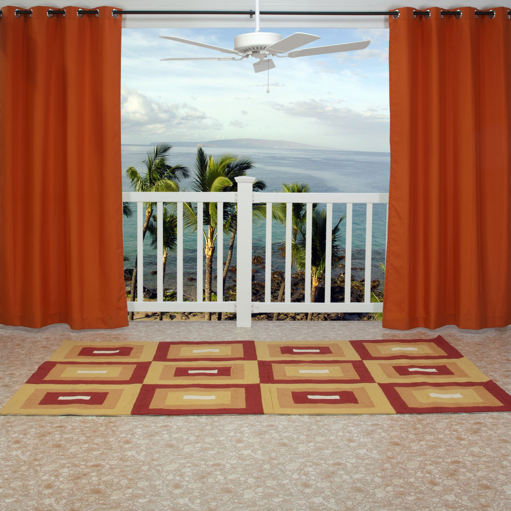 orange polyester outdoor curtain with grommets