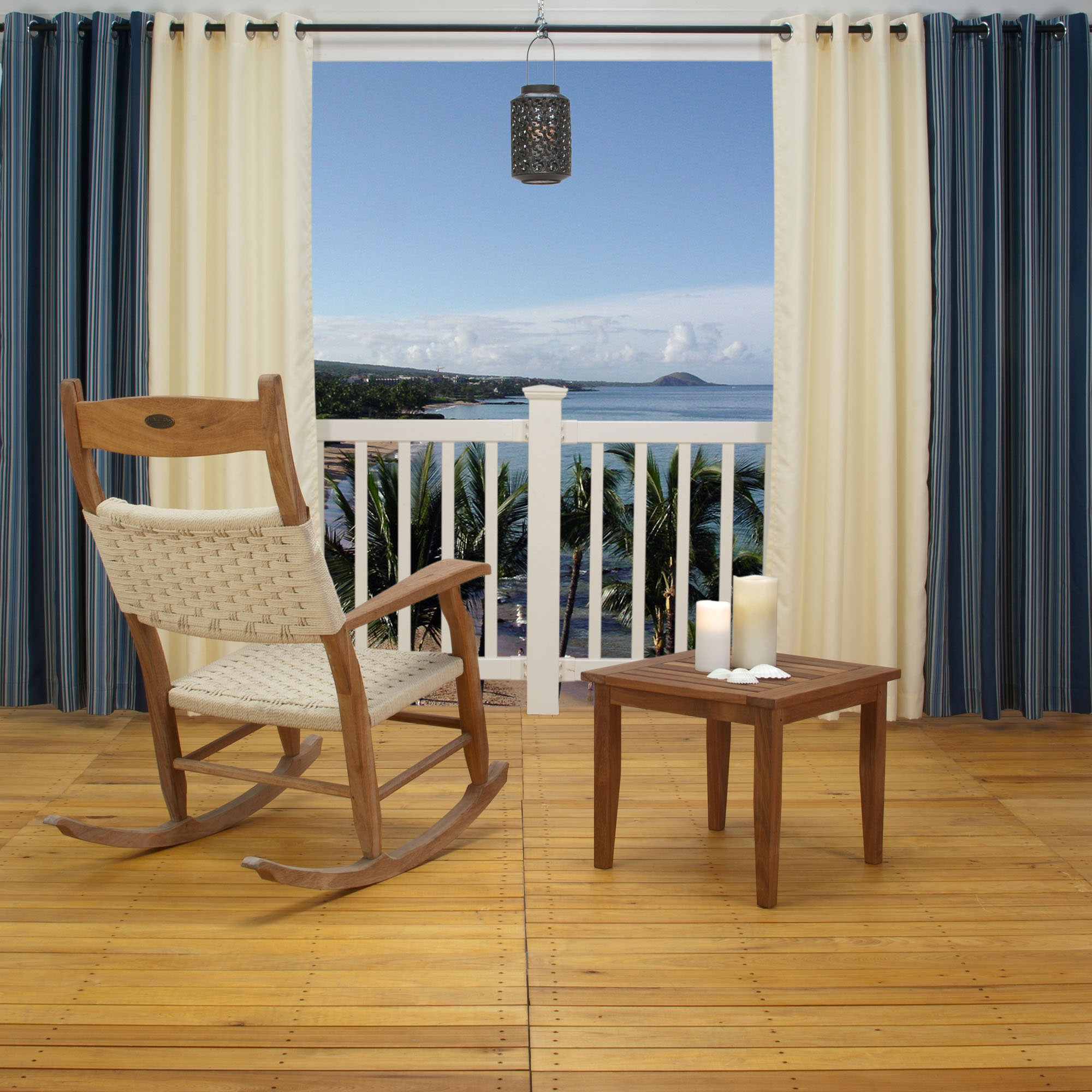 Shop Blue Stripe Polyester Outdoor Curtain With Grommets Commonwealth Curtains Outdoors