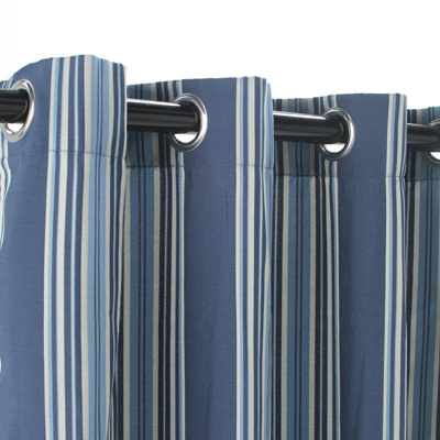 Blue Stripe Polyester Outdoor Curtain with Grommets
