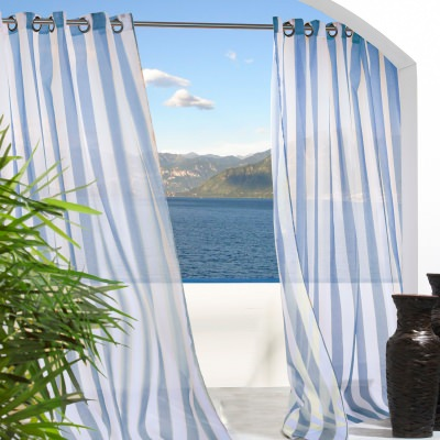 Blue Stripe Escape Outdoor Curtain with Grommets