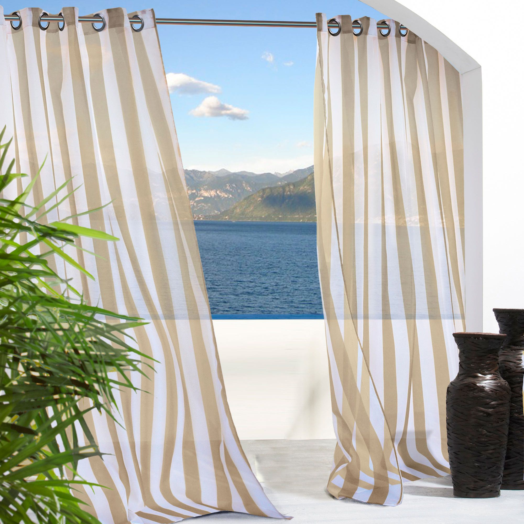 sheer khaki stripe outdoor curtain with grommets