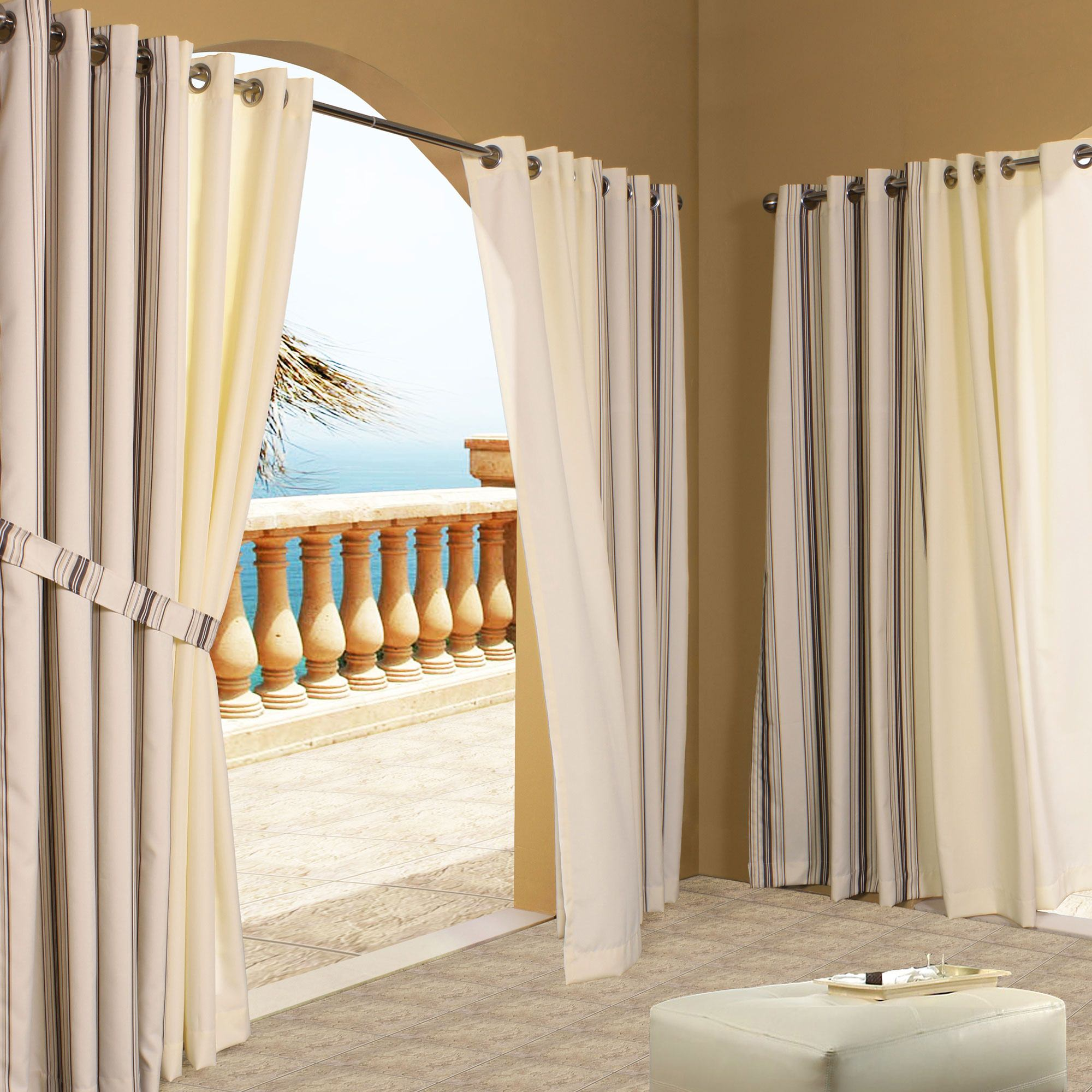 Natural Polyester Outdoor Curtains Dfohome