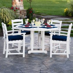 La Casa Cafe 5-Piece Dining Set with Cushions in White and Navy