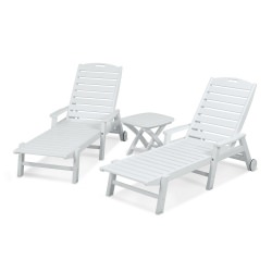 Nautical 3-Piece Chaise Set with Arms