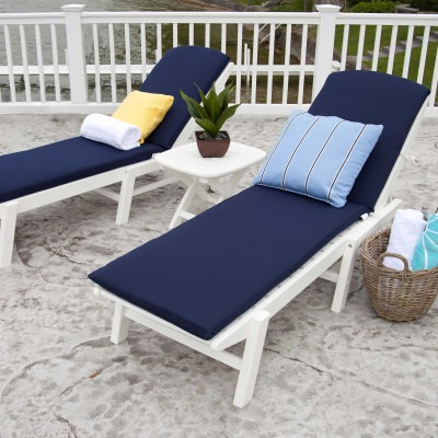 Nautical 3-Piece Chaise Set with Cushions in White and Navy