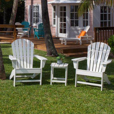 South Beach Adirondack 2 Chairs and Side Table Set  in White