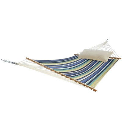 Baltic Blue Stripe Large Quilted Fabric Hammock