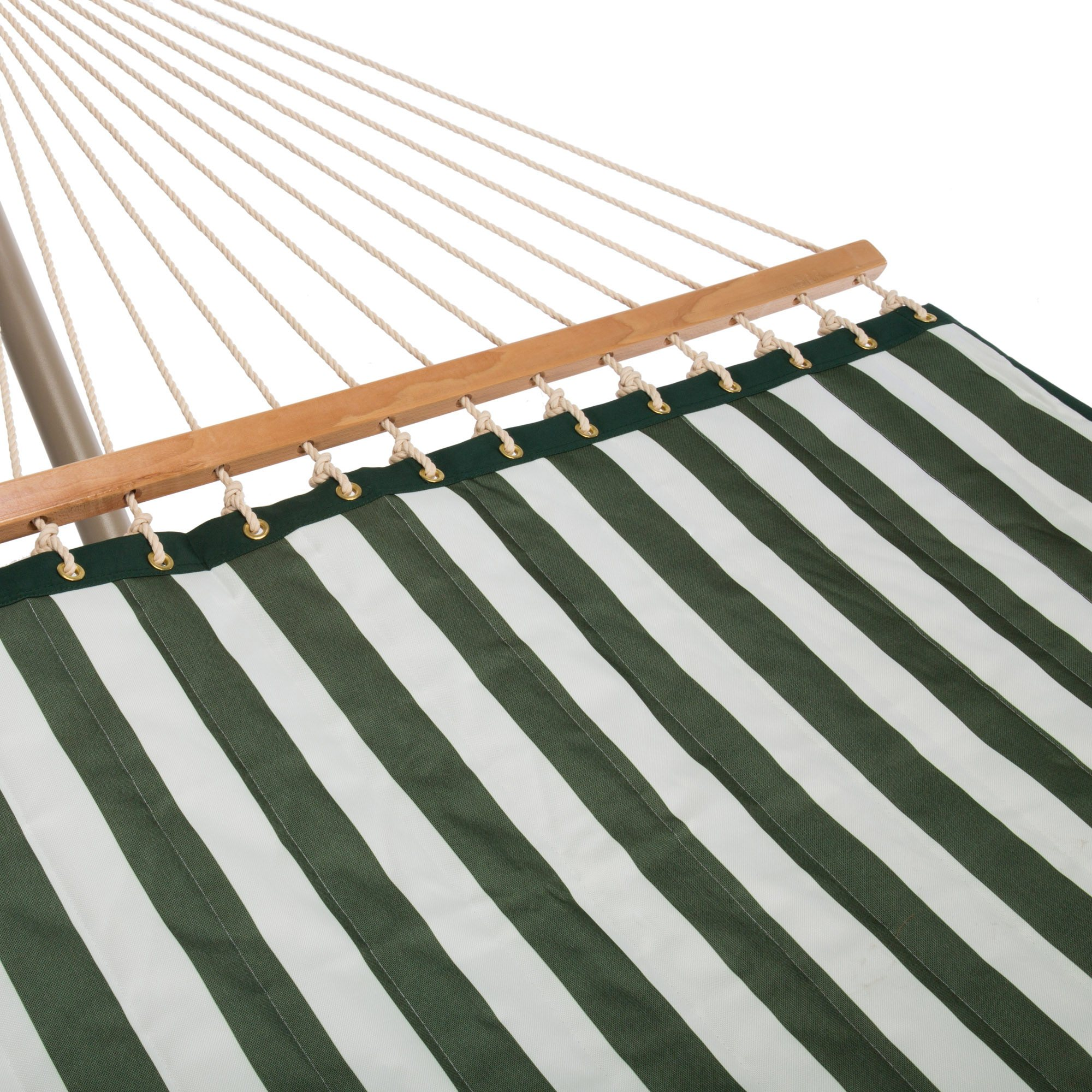 Large 2 Person Soft Polyester Hunter Green And White Stripe Quilted Hammock With Free Hanging Hardware