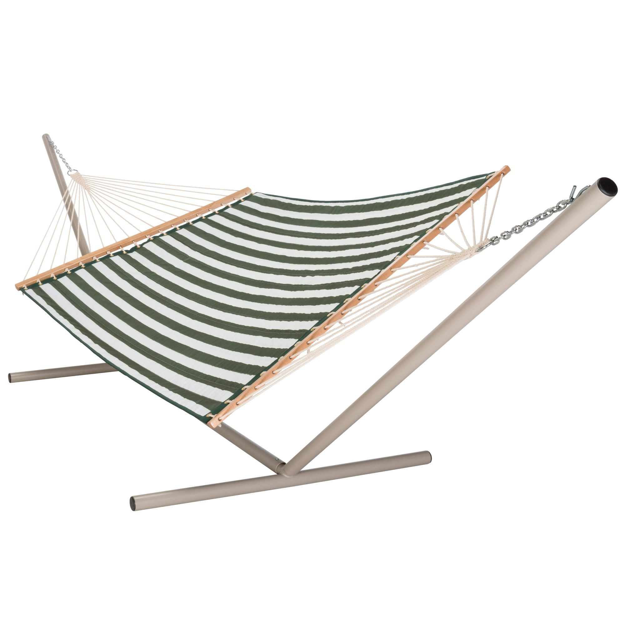 large 2 person soft polyester hunter green and white stripe quilted hammock with free hanging hardware large hunter green  u0026 white stripe quilted hammock   dfohome  rh   dfohome