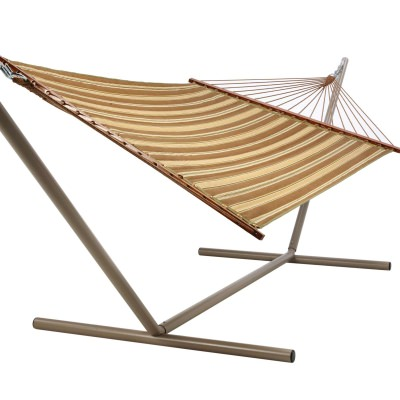 Quilted Hammock - Beau Green and Brown Stripe
