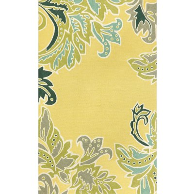 Ravella Ornamental Leaf Border Yellow Outdoor Rug