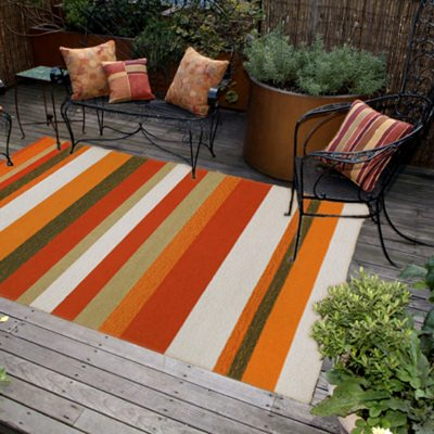 Ravella Stripe  Orange Outdoor Rug