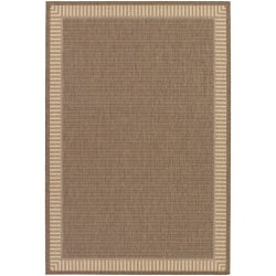 Recife Wicker Stitch Cocoa and Natural Outdoor Rug