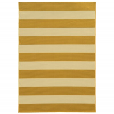 Riviera Gold Rugby Stripe Outdoor Rug (3ft 7in x 5ft 6in)