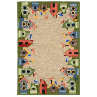 Ravella Birdhouses Border Multi Outdoor Rug